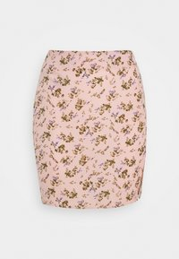 MINI SKIRT SPLIT FLORAL - Mini skirt - pink