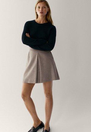 MIT HAHNENTRITTMUSTER - A-line skirt - beige