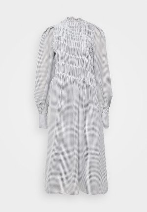 LONG SLEEVE SMOCKED MIDI - Denní šaty - black/white