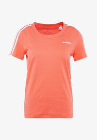 adidas Performance - ESSENTIALS 3 STRIPES DAMEN - Print T-shirt - semi coral/white - 4