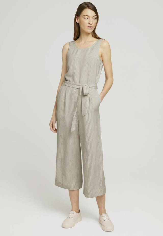 Jumpsuit - offwhite thin stripe woven
