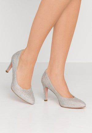 Højhælede pumps - silver glam