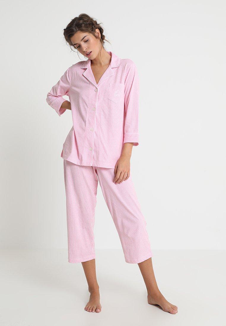 Lauren Ralph Lauren - HERITAGE 3/4 SLEEVE CLASSIC NOTCH COLLAR SET - Pyjama set - pale pink/white