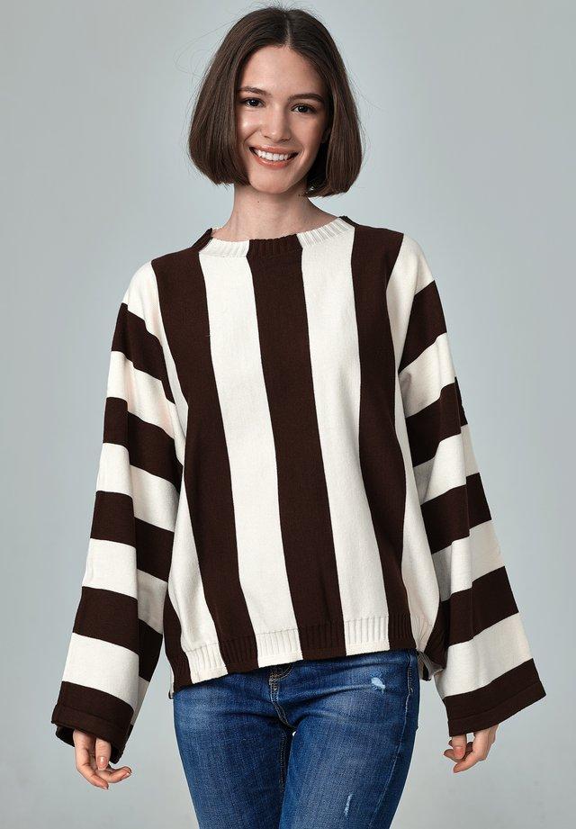 ROMA - Stickad tröja - brown and off white