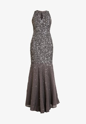 KEYHOLE FRONT ALL OVER EMBELLISHED FISHTAILDRESS - Occasion wear - charcoal