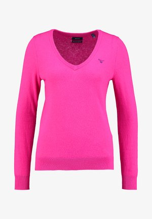 EXTRAFINE V NECK - Svetr - rich pink