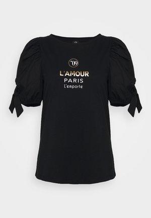 BLACK LAMOUR PARIS POPLIN TIE TEE - Triko spotiskem - black