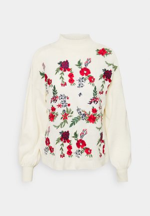 FLORAL  - Sweter - cream