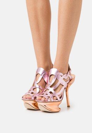 ANDREJA - High heeled sandals - pink/metallic/bronze