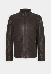 PEEL - Leather jacket - dark brown