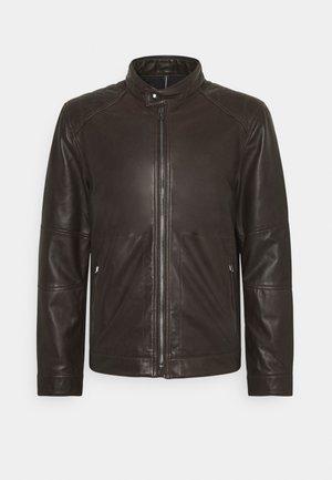 PEEL - Kožená bunda - dark brown