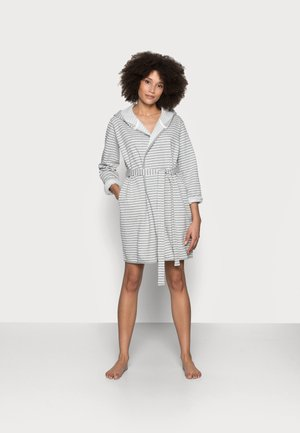 STRIPE FLANNEL BATHROBE  - Dressing gown - grey/white