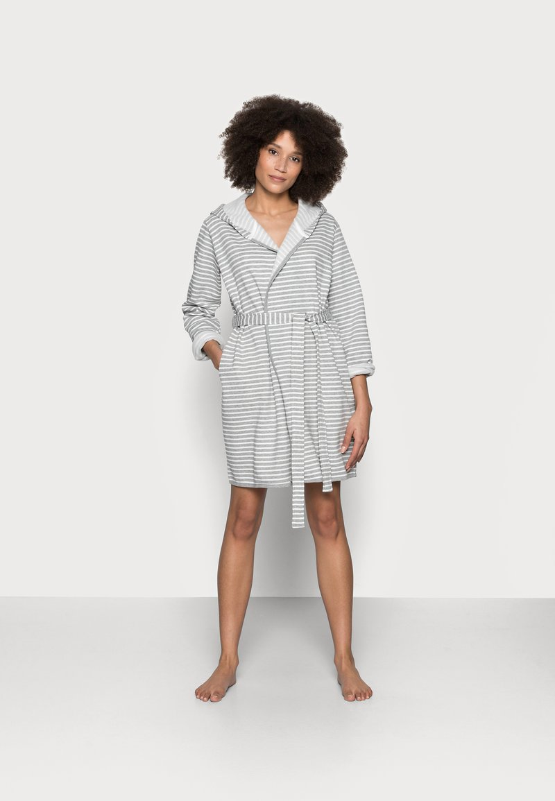 Anna Field - STRIPE FLANNEL BATHROBE  - Dressing gown - grey/white