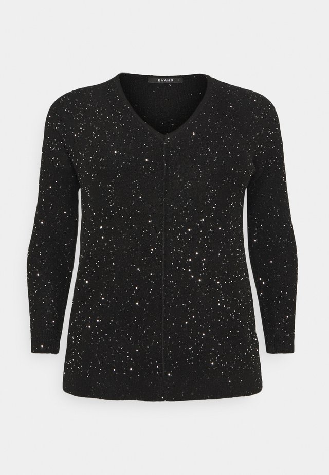 SEQUIN V-NECK JUMPER - Jumper - black