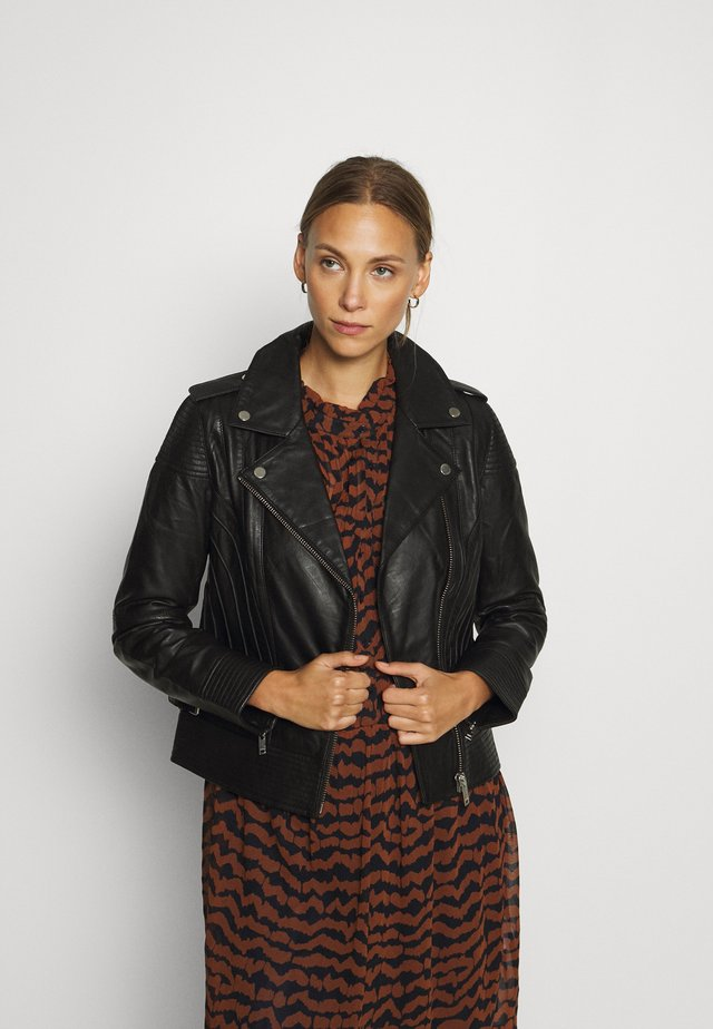 BIKER JACKET WITH PIPING - Leather jacket - black