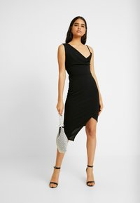 WAL G. - COWL NECK LING ASYMMETRIC MIDI DRESS - Sukienka koktajlowa - black - 2