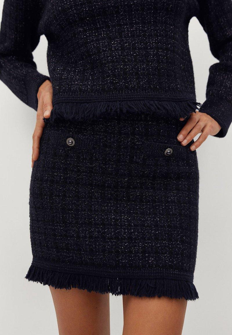 Mango - CHABELI - Mini skirt - dunkles marineblau
