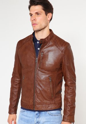 AGENCY - Leather jacket - tobacco