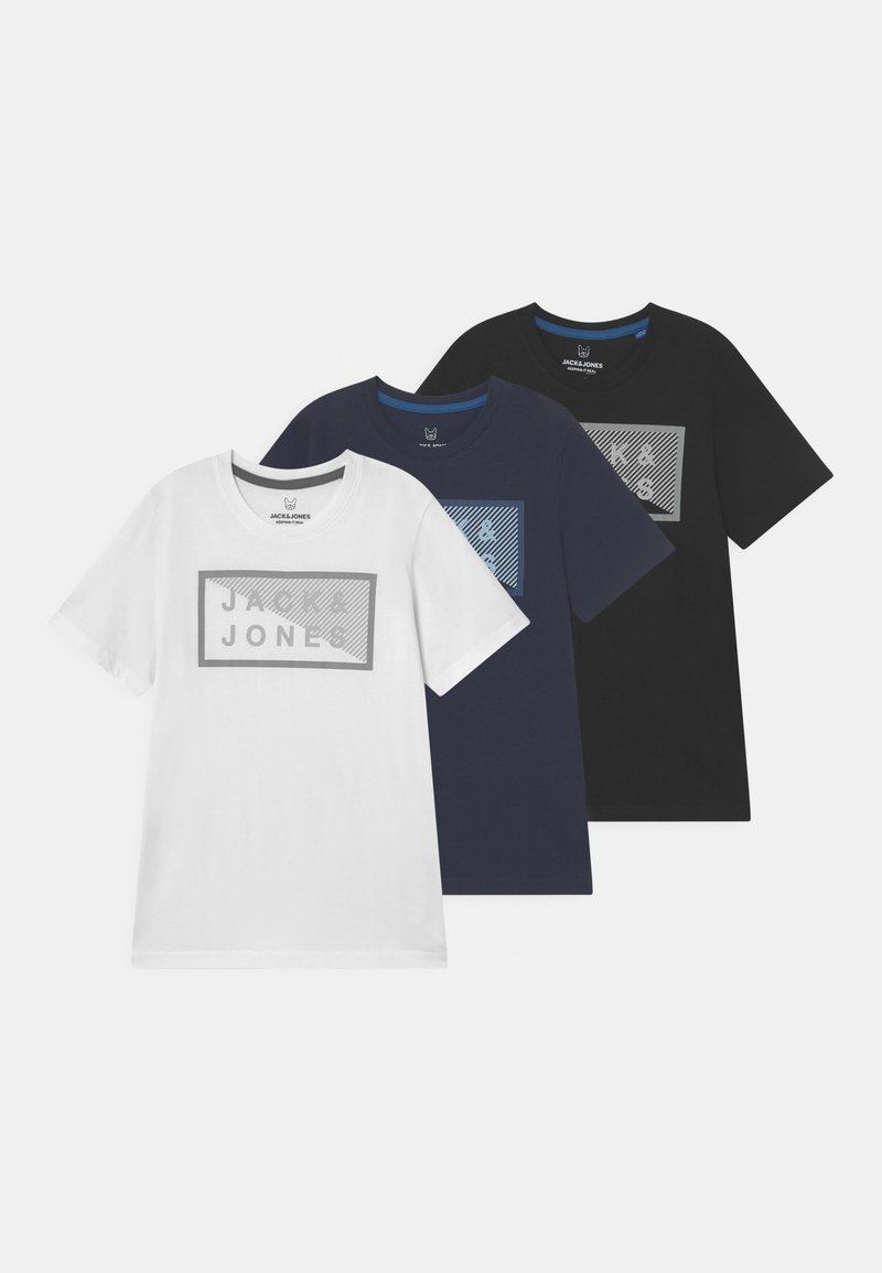 Jack & Jones Junior - JCOSHAWN CREW NECK 3 PACK - Print T-shirt - navy blazer