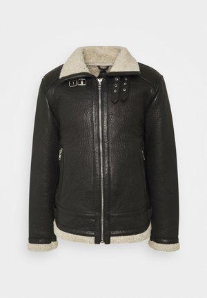 AUSTIN - Leather jacket - black/white