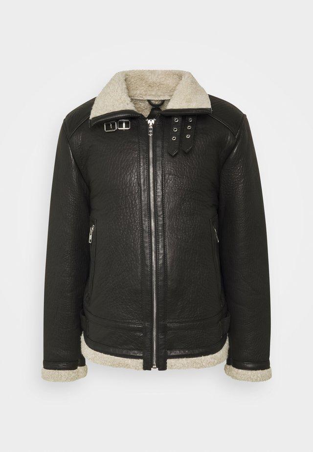 AUSTIN - Veste en cuir - black/white