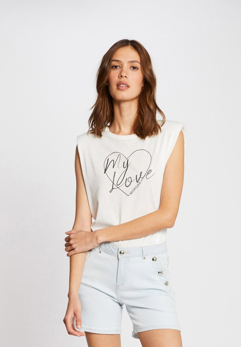 Morgan - WITH MESSAGE - Print T-shirt - off-white