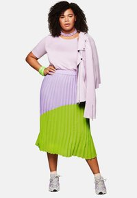 Sheego - A-line skirt - lime/lilac - 1