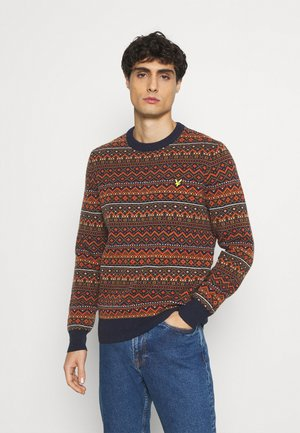 FAIR ISLE JUMPER - Stickad tröja - dark navy