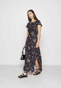 Vila - VIBILLY LONG FLOWER SKIRT - Maxi skirt - navy blazer/red - 1