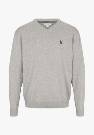 COSMO KNIT V-NECK - Stickad tröja - grey melange