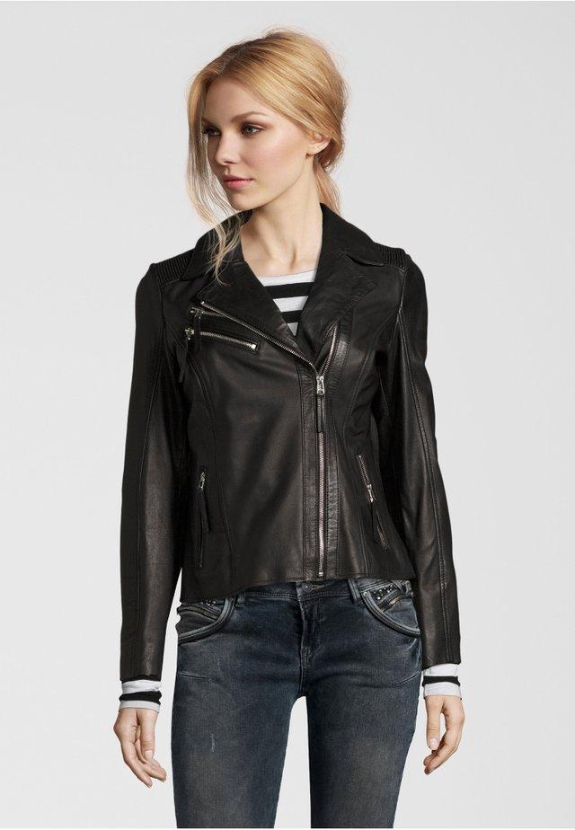 AMANDA - Leather jacket - black