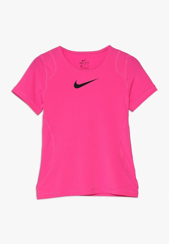 T-Shirt basic - vivid pink/black