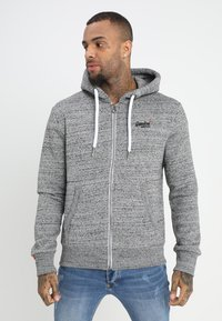 Superdry - LABEL ZIPHOOD - Zip-up hoodie - flint grey grit - 0