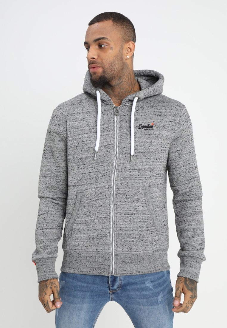 Superdry - LABEL ZIPHOOD - Zip-up hoodie - flint grey grit