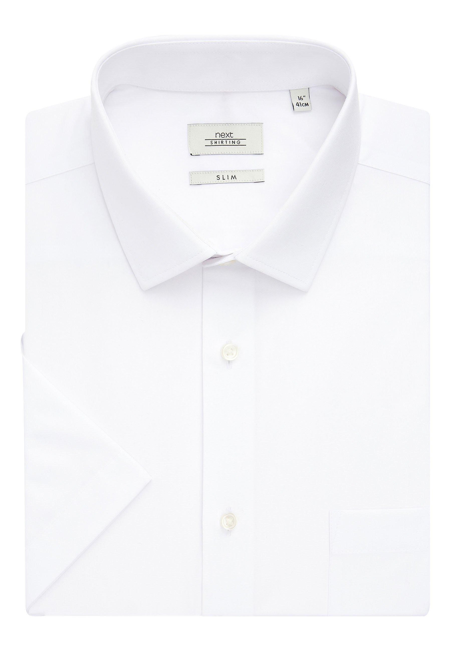 Herren WHITE SLIM FIT SHORT SLEEVE EASY CARE SHORT SLEEVE SHIRT - Hemd