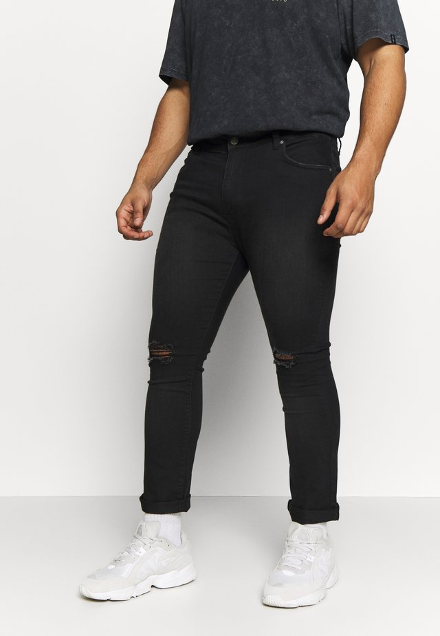 PLUS SCRATCH RIPPED KNEE - Jeans Skinny Fit - black
