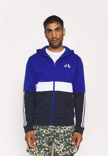 COLORBLOCK FULL ZIP ESSENTIALS - Zip-up sweatshirt - bold blue/white