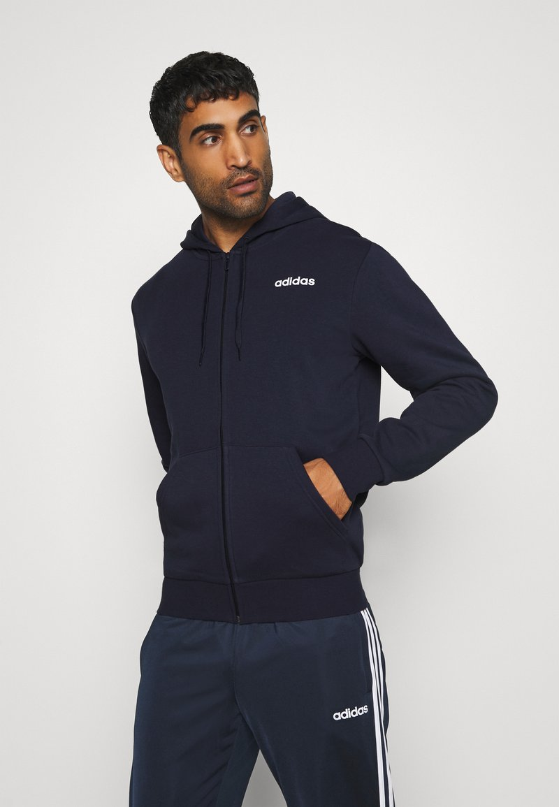 adidas Performance - ESSENTIALS SPORTS HOODED TRACK - Huvtröja med dragkedja - dark blue