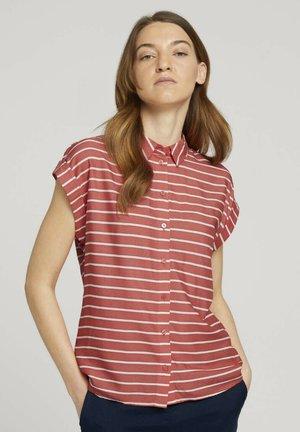 Overhemdblouse - red offwhite stripe