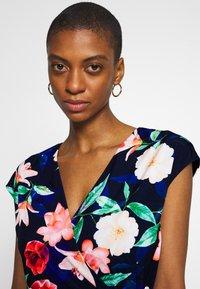 Wallis - ELECTRIC FLORAL RUFFLE WRAP DRESS - Jersey dress - ink - 4
