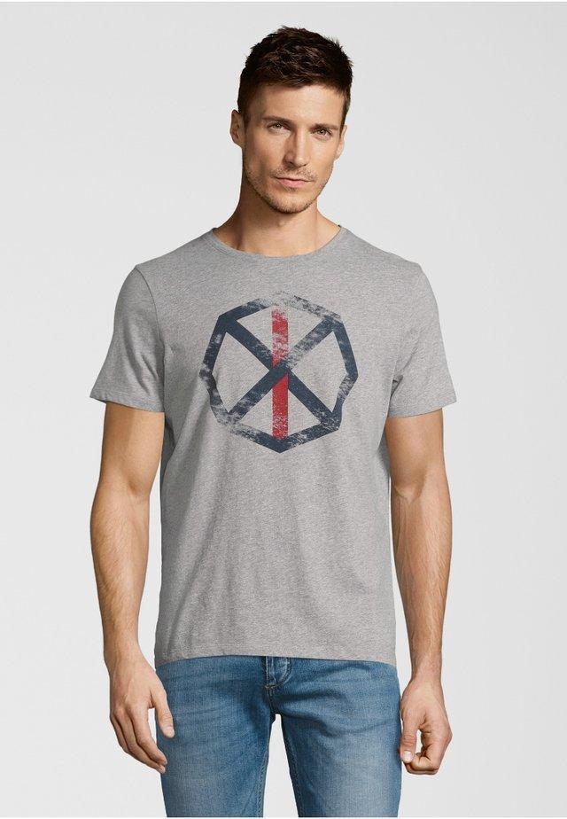 FRANKY - Print T-shirt - grey melange