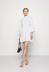 Closet - HIGH COLLAR MINI DRESS - Day dress - ivory - 1