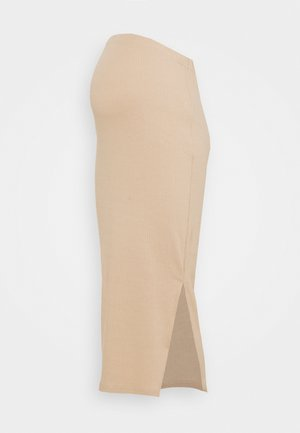 SPLIT SIDE MIDI SKIRT - Jupe crayon - brown