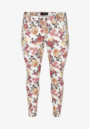 Jeans slim fit - white flower aop