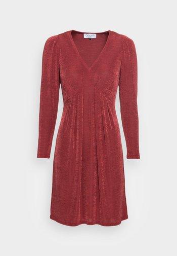 V NECK DRESS - Jersey dress - burgandy