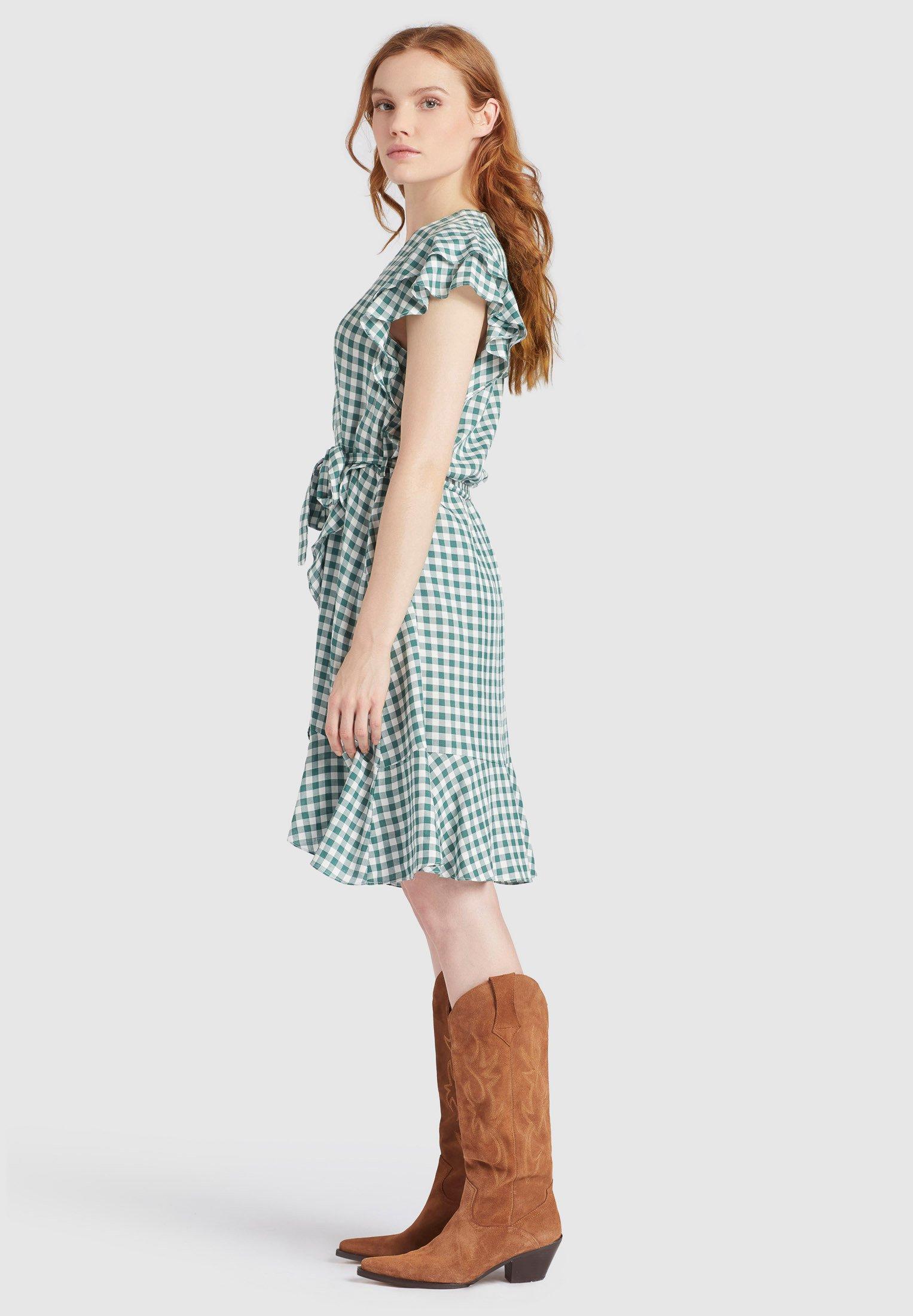 khujo TERELLE - Robe d'été - green/white - Robes femme pWMK4