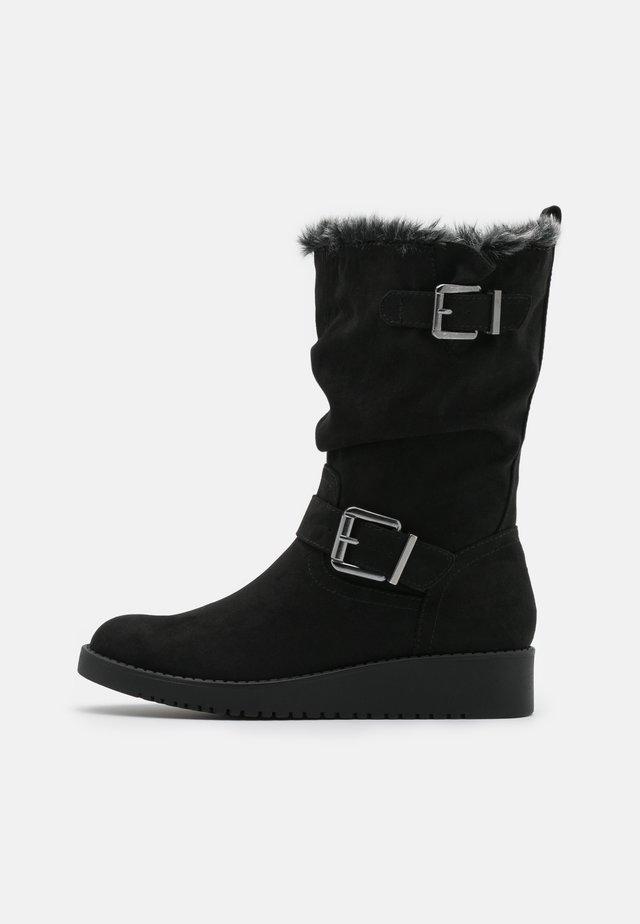TESSI WEDGE WALKER - Laarzen met sleehak - black