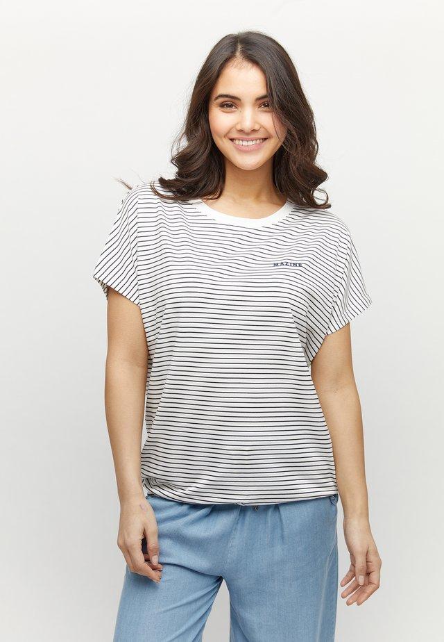 WYLIE - Printtipaita - navy/white striped