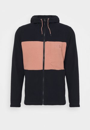 MEN'S BLOCKED HOODIE - Fleecová bunda - dark blue/pink