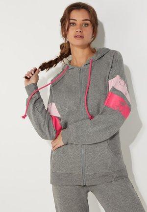 BEDRUCKTEN GALONSTREIFEN - Zip-up hoodie - grigio antracite mel